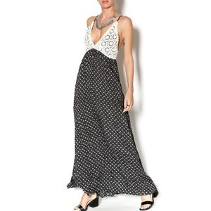 Maddy K Crochet Triangle Floral Print Maxi Dress